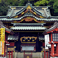 Yachihoko Jinja at Shizuoka Sengen Jinja in Shizuoka, Japan<br /> During the Edo period (1603 – 1868), this was Marishitensha. The shrine was erected for the Buddhist goddess of Marishiten. Although this kami protects people and wealth, her primary role is guardian of warriors. Tokugawa Ieyasu, the founder of the Tokugawa shogunate, prayed to her before the 90 battles he fought during his military career. In the 19th century, the shrine was renamed Yachihoko Jinja and rededicated to Ōkuninushi, the Great Land Master and god of nation building. The architecture of Yachihoko Jinja stands out at Shizuoka Sengen Jinja because of its black lacquer and intricate carvings beneath its irimoya-zukuri roof.