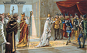 Pope Stephen II (III) in Paris asking Pepin the Short for help against the Lombards.  Pepin or Pippin (714-768) King of the Franks from 751, father of Charlemagne.  Nineteenth century Trade Card Chromolithograph