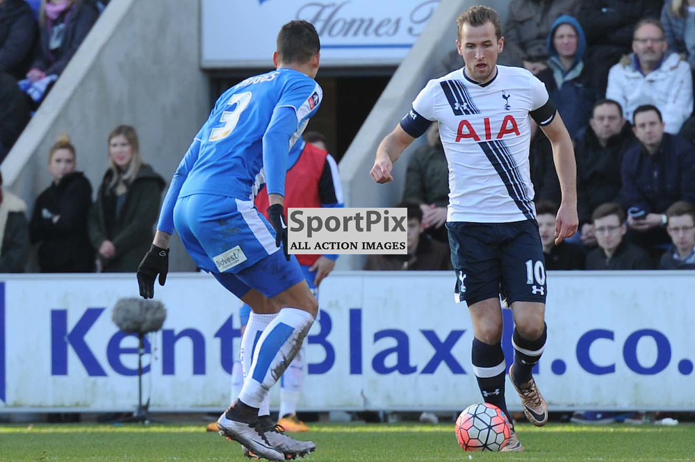 Colchesters Matt Briggs and Tottenhams Harry Kane in action during the Colchester v Tottenham game in the FA Cup 4th Round on the 30th January 2016.
