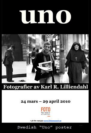 """Swedish poster for black and white exhibition """"Uno""""."""