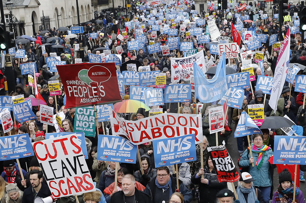 © Licensed to London News Pictures. 03/02/2018. London, UK. Thousands take part in the People's Assembly - 'emergency' NHS demonstration in Whitehall opposite Downing Street. Photo credit: Peter Macdiarmid/LNP