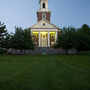 A church / chapel at Colby College at dusk.