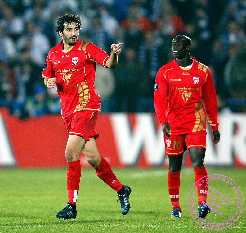 POZNAN 06/11/2008.UEFA CUP.LECH POZNAN v AS NANCY.MONSEF ZERKA OF AS NANCY CELEBRATES HIS GOAL ..FOT. PIOTR HAWALEJ / WROFOTO