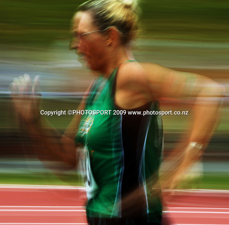 Tasman's Nyle Sunderland competes in the women's 3000m walk.<br /> National athletics championships at Newtown Park, Wellington. Friday, 27 March 2009. Photo: Dave Lintott/PHOTOSPORT