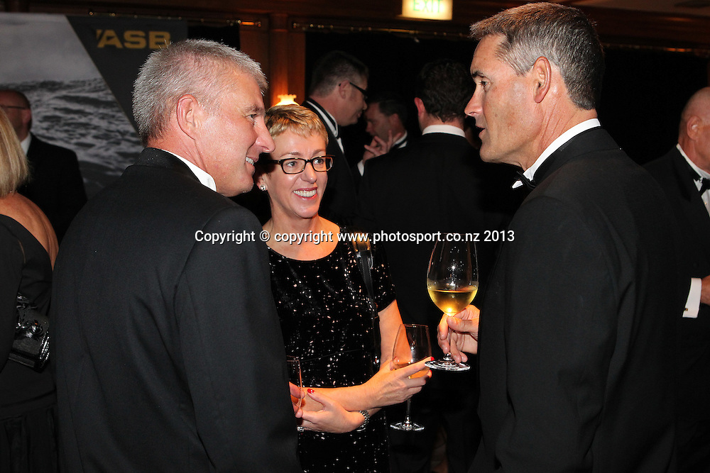 ASB Chief Executive Barbara Chapman with Sir Russell Coutts during an evening with Americas Cup yachtsmen Sir Russell Coutts and Grant Dalton at The Langham, Auckland, Friday May 3, 2013 to raise funds for David Barnes and Rick Dodson who suffer from multiple sclerosis ands plan to compete in the 2016 Paralympics in Rio. Photo: Fiona Goodall/photosport.co.nz