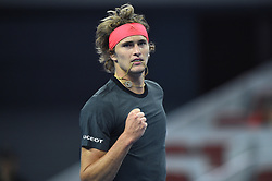 BEIJING, Oct. 2, 2018  Alexander Zverev of Germany celebrates during the men's singles first round match against Roberto Bautista Agut of Spain at China Open tennis tournament in Beijing, China, Oct. 2, 2018. Alexander Zverev won 2-0. (Credit Image: © Ju Huanzong/Xinhua via ZUMA Wire)