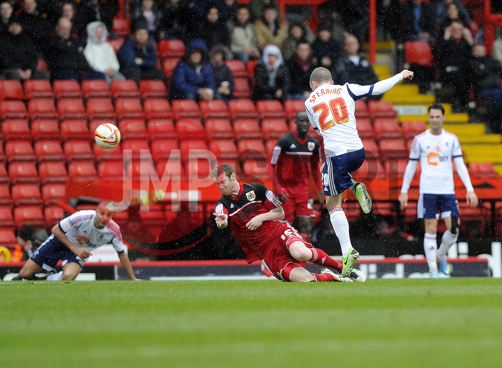 Bolton Wanderers' Jay Spearing is fouled by Bristol City's Stephen Pearson - Photo mandatory by-line: Joe Meredith/JMP - Tel: Mobile: 07966 386802 13/04/2013 - SPORT - FOOTBALL - Ashton Gate - Bristol - Bristol City V Bolton Wanderers - Npower Championship