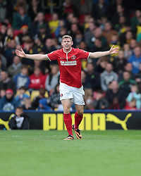 Charlton Athletic's Simon Church looks for a penalty  - Photo mandatory by-line: Nigel Pitts-Drake/JMP - Tel: Mobile: 07966 386802 14/09/2013 - SPORT - FOOTBALL -  Vicarage Road - Hertfordshire - Watford V Charlton Athletic - Sky Bet Championship