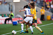 SYDNEY, AUSTRALIA - NOVEMBER 09: Yessenia López of Chile and Jenna McCormick of Australia battle for the ball during the International friendly soccer match between Matildas and Chile on November 09, 2019 at Bankwest Stadium in Sydney, Australia. (Photo by Speed Media/Icon Sportswire)