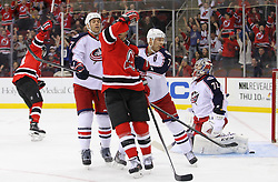 Feb 27, 2014; Newark, NJ, USA; New Jersey Devils center Adam Henrique (14) (not shown) scores a goal on Columbus Blue Jackets goalie Sergei Bobrovsky (72) during the first period at Prudential Center.