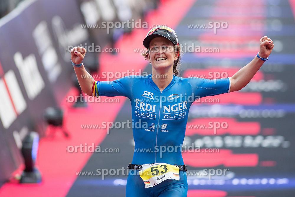 05.07.2015, Frankfurt, GER, Ironman Europameisterschaften, Frankfurt, im Bild Julia Gajer (Deutschland) feiert ihren zweiten Platz // during the Ironman European Championship 2015 triathlon in Frankfurt, Germany on 2015/07/05. EXPA Pictures &copy; 2015, PhotoCredit: EXPA/ Eibner-Pressefoto/ Schueler<br /> <br /> *****ATTENTION - OUT of GER*****