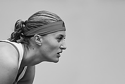 May 9, 2018 - Madrid, Madrid, Spain - (EDITORS NOTE: the image has been converted to black and white) Kristina Mladenovic of France looks on in her match against Maria Sharapova of Russia during day five of the Mutua Madrid Open tennis tournament at the Caja Magica on May 9, 2018 in Madrid, Spain  (Credit Image: © David Aliaga/NurPhoto via ZUMA Press)