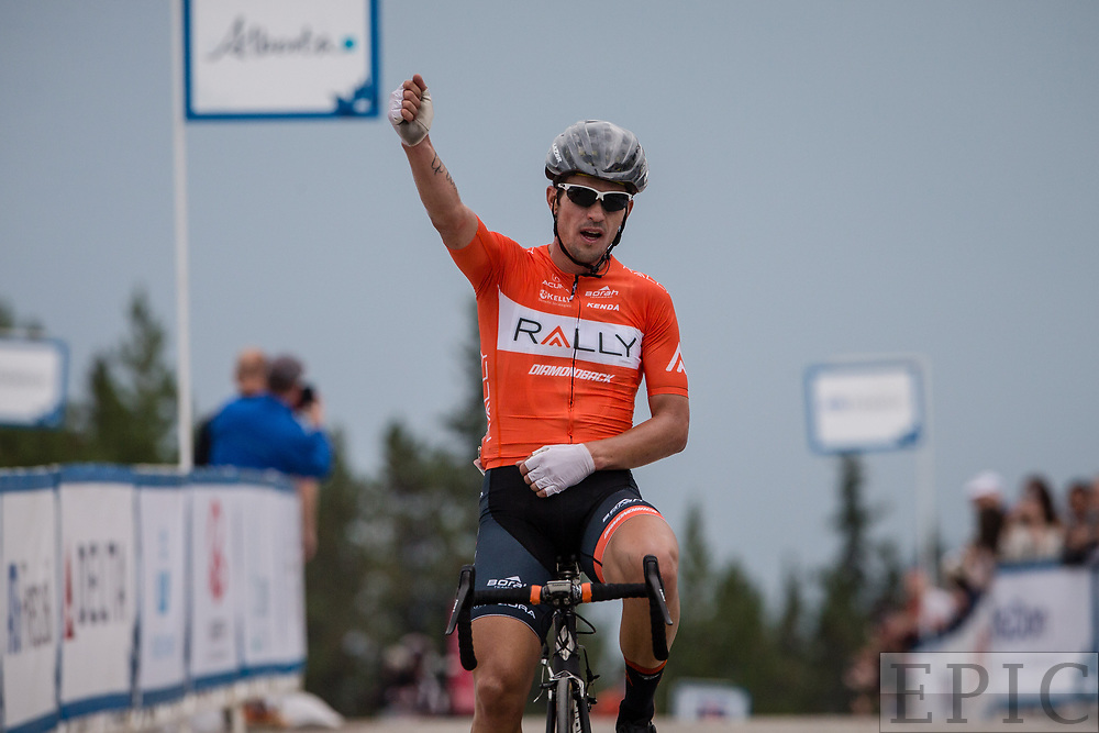 JASPER, ALBERTA, CAN - September 1: Evan Huffman (Rally Cycling) wins stage one of the Tour of Alberta on September 1, 2017 in Jasper, Canada. (Photo by Jonathan Devich)