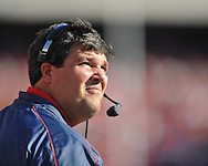 Ole Miss assistant coach Matt Luke vs. Georgia at Sanford Stadium in Athens, Ga. on Saturday, November 3, 2012.