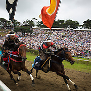 "MINAMISOMA, JAPAN - JULY 24 :  A samurai horsemen compete in the Kacchu-keiba (armed horse race) during the Soma Nomaoi festival at Hibarigahara field on Sunday, July 24, 2016 in Minamisoma, Japan. ""Soma-Nomaoi"" is a traditional festival that recreates a samurai battle scene from more than 1,000 years ago. (Photo: Richard Atrero de Guzman/NURPhoto)"