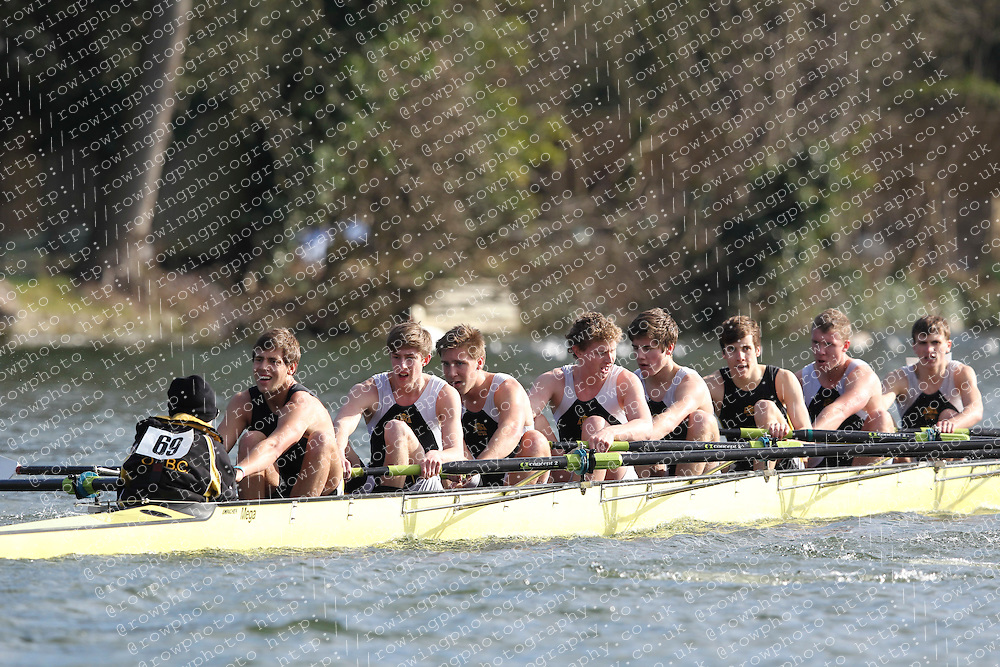 2012.02.25 Reading University Head 2012. The River Thames. Division 1. Oratory School Boat Club A J18A 8+