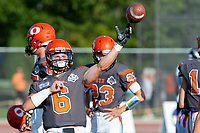 KELOWNA, BC - AUGUST 3:  Ethan Newman #6 of Okanagan Sun throws the ball during warm up against the Kamloops Broncos  at the Apple Bowl on August 3, 2019 in Kelowna, Canada. (Photo by Marissa Baecker/Shoot the Breeze)