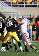 18 OCTOBER 2008: Wisconsin offensive lineman Eric Vandenheuvel (71) blocks Iowa defensive end Christian Ballard (46) in the first half of an NCAA college football game against Wisconsin, at Kinnick Stadium in Iowa City, Iowa on Saturday Oct. 18, 2008. Iowa won 38-16.
