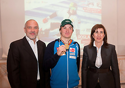 Damjan Pintar of Unitur Turizem, Rok Marguc and Barbara Kuerner Cad  at press conference prior to the Rogla Snowboard World Cup and IPC Alpine Skiing World Cup, on January 30, 2013 in Rogla, Slovenia. (Photo By Vid Ponikvar / Sportida.com)