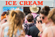 Ice cream is popular in the heat. The 2015 Glastonbury Festival, Worthy Farm, Glastonbury.
