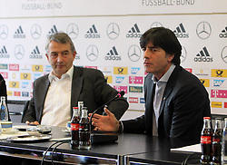 18.10.2013, DFB Zentrale, Frankfurt, GER, DFB Pressekonferenz, im Bild DFB Präsident Wolfgang Niersbach - Joachim Jogi Löw // during the DFB press conference to extend the contract of national coach Joachim Loew in the DFB headquarters in Frankfurt on 2013/10/18. EXPA Pictures © 2013, PhotoCredit: EXPA/ Eibner-Pressefoto/ RRZ<br /> <br /> *****ATTENTION - OUT of GER*****