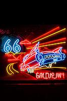 Neon Route 66 Sign, Gallup, New Mexico USA.