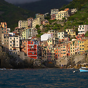 The seaside village of Manarola, one of the villages in the Cinque Terre region, Italy  Scenes from Riomaggiore, Italy