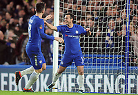 Football - 2017 / 2018 FA Cup - Fifth Round: Chelsea vs. Hull City<br /> <br /> Pedro of Chelsea celebrates scoring goal no 2 with Olivier Giroud, at Stamford Bridge.<br /> <br /> COLORSPORT/ANDREW COWIE