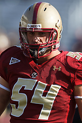 November 20, 2010; Chestnut Hill, MA, USA;  Boston College Eagles linebacker Nick Clancy (54) warms up before the game against the Virginia Cavaliers at Alumni Stadium.  Boston College defeated Virginia 17-13.