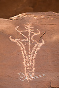 Ute rock art petrogylphs in Arches National Park, Utah.