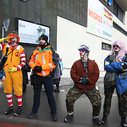 The third and last day of the Strike WEF march on Davos, 21st of January 2020, Switzerland.  The Clown Army in Davos. <br /> <br />  The march is a three day protest against the World Economic Forum meeting in Davos. The activists want climate justice and think that The WEF is for the world's richest and political elite only.