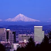 Mount Hood and downtown Portland Oregon USA skyline at sunset