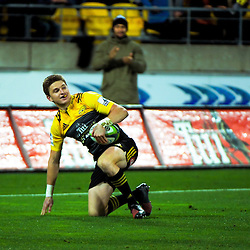 Beauden Barrett scores during the Super Rugby semifinal match between the Hurricanes and Chiefs at Westpac Stadium, Wellington, New Zealand on Saturday, 30 July 2016. Photo: Dave Lintott / lintottphoto.co.nz