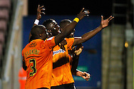 Picture by David Horn/Focus Images Ltd +44 7545 970036.30/08/2012.Bakary Sako (right)  of Wolverhampton Wanderers celebrates scoring during the Capital One Cup match at Sixfields Stadium, Northampton.