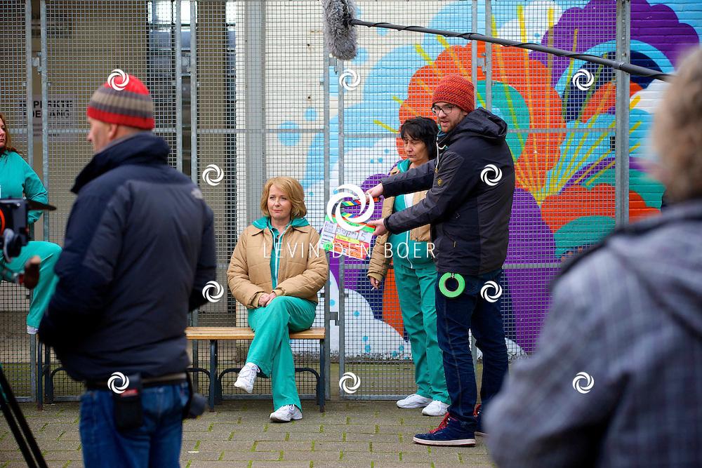 ALKMAAR - In een oude gevangenis zijn de tv opnames van de nieuwe SBS6 tv serie 'Celblok H'. Met hier op de foto  actrice Inge Ipenburg. FOTO LEVIN DEN BOER - PERSFOTO.NU
