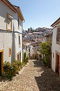 Cobbled street in Judiara the former Jewish part of Castelo de Vide, Alto Alentejo, Portugal, southern Europe