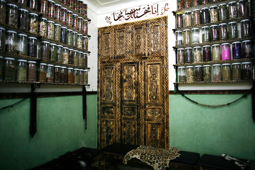 Marrakesh, Morocco. October 9th 2008..At an herbalist's shop..