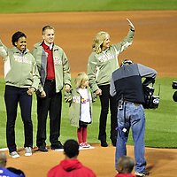 Oct 19, 2011; St. Louis, MO, USA; Michelle Obama (left) and Jill Biden (right) wave to the crowd before game one of the 2011 World Series between the Texas Rangers and the St. Louis Cardinals at Busch Stadium.  Mandatory Credit: Steve Mitchell