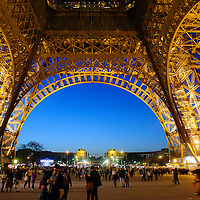 The Eiffel Tower is pictured at dusk in Paris, France, in April 2015.