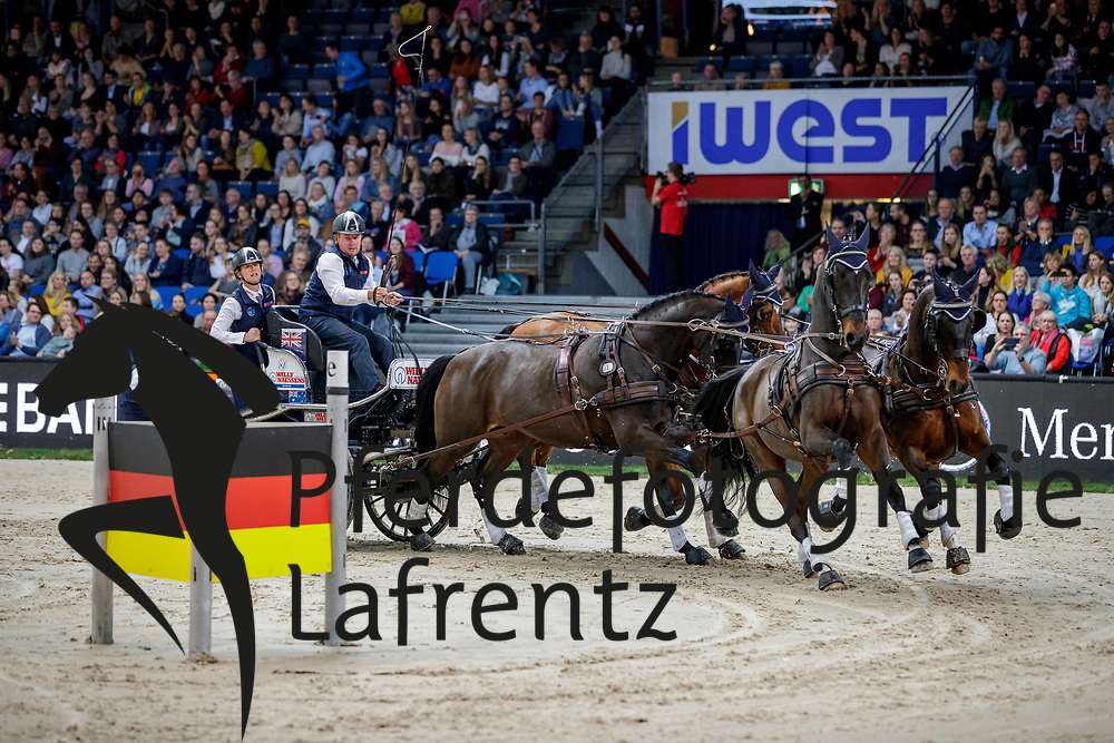 EXELL Boyd (AUS), Bajnok, Orias, Demin, Clinton Star<br /> Stuttgart - German Masters 2019<br /> Preis der Firma iWEST<br /> Einlaufprüfung für den FEI WORLD CUP™ DRIVING 2019/2020<br /> Int. Zeit-Hindernisfahren für Vierspänner mit zwei unterschiedlichen Umläufen CAI-W<br /> 15. November 2019<br /> © www.sportfotos-lafrentz.de/Stefan Lafrentz