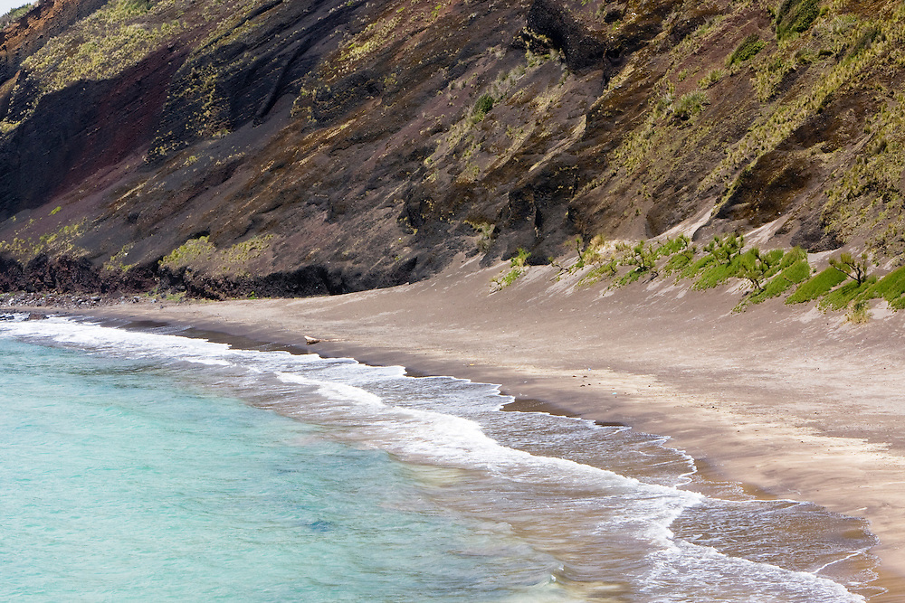 a beach on the Island of Horta between Porto Pim and the town of Horta. .Horta is on the Portuguese island of Faial, one of the Azores, which mark the most western boundaries of the E.U.