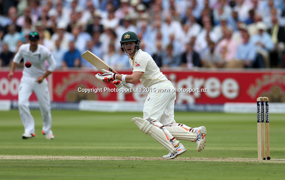 Steve Smith bats during the second Investec Ashes Test Match between England and Australia at Lord's Cricket Ground, London. Photo: Graham Morris/www.cricketpix.com (Tel: +44 (0)20 8969 4192; Email: graham@cricketpix.com) 16072015