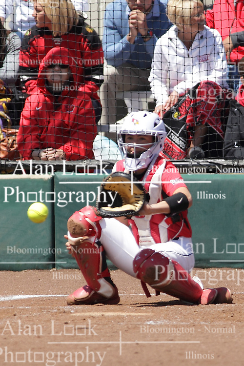 26 April 2015:   Redbirds catcher Stephanie Gallant during an NCAA Missouri Valley Conference (MVC) Championship series women's softball game between the Loyola Ramblers and the Illinois State Redbirds on Marian Kneer Field in Normal IL