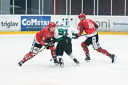 JEZOVSEK Zan vs PEM Nik and SABANOVIC Zemir during Alps League Ice Hockey match between HK SZ Olimpija and HDD SIJ Jesenice, on February 12, 2019 in Ice Arena Podmezakla, Jesenice, Slovenia. Photo by Peter Podobnik / Sportida