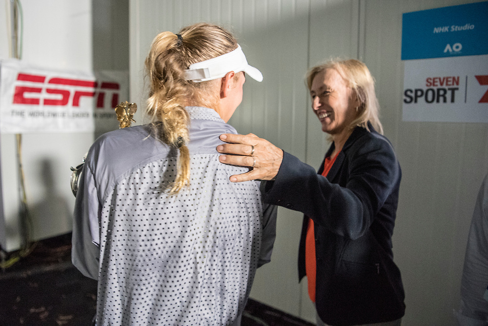 Caroline Wozniacki of Denmark is congratulated by Martina Navratilova after an interview after winning the women's singles championship match during the 2018 Australian Open on day 13 in Melbourne, Australia on Saturday night January 27, 2018.<br /> (Ben Solomon/Tennis Australia)