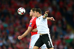 Aleksander Dragovic of Austria challenges for a header with  Sam Vokes of Wales - Mandatory by-line: Dougie Allward/JMP - 02/09/2017 - FOOTBALL - Cardiff City Stadium - Cardiff, Wales - Wales v Austria - FIFA World Cup Qualifier 2018