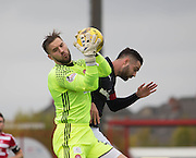 Hamilton&rsquo;s Gary Woods clutches the ball under pressure from Dundee&rsquo;s Marcus Haber - Hamilton v Dundee in the Ladbrokes Scottish Premiership at Superseal stadium, Hamilton. Photo: David Young<br /> <br />  - &copy; David Young - www.davidyoungphoto.co.uk - email: davidyoungphoto@gmail.com