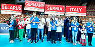 Katowice, Poland - 2017 September 03: SO Belarus and SO Germany and SO Serbia and SO Italy while Awarding Ceremony during European Unified Volleyball Tournament 2017 at Spodek Hall on September 03, 2017 in Katowice, Poland.<br /> <br /> Adam Nurkiewicz declares that he has no rights to the image of people at the photographs of his authorship.<br /> <br /> Picture also available in RAW (NEF) or TIFF format on special request.<br /> <br /> Any editorial, commercial or promotional use requires written permission from the author of image.<br /> <br /> Image can be used in the press when the method of use and the signature does not hurt people on the picture.<br /> <br /> Mandatory credit:<br /> Photo by © Adam Nurkiewicz / Mediasport