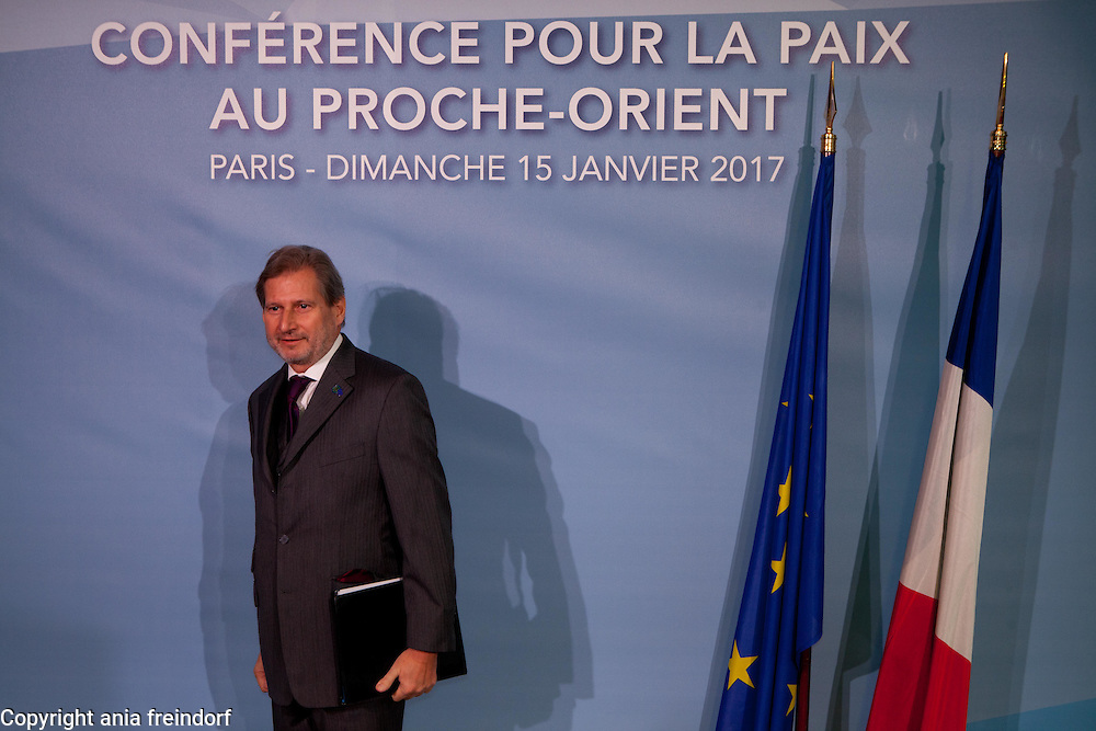 Middle East Peace Conference, Paris, France. International summit. 7O countries have participated in the summit. Johannes Hahn, Austrian politician, Commissioner for European Neighbourhood Policy & Enlargement Negotiations
