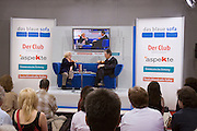 "Buchmesse Frankfurt, biggest book fair in the World. Dr. Ruth Westheimer talking about ""Silver Sex"" on das blaue sofa (the blue Sofa)."